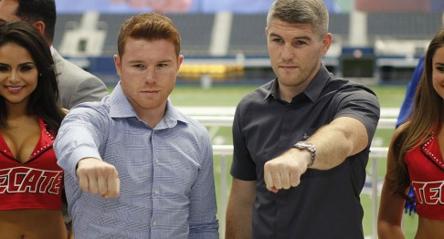 Canelo Smith press conference Monday July 18, 2016. The two fighters will face off in ATT Stadium on September 17, 2016 for the World Junior Middle Weight Title. (Bob Booth)